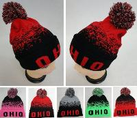 Knitted Hat with PomPom [OHIO] Digital Fade